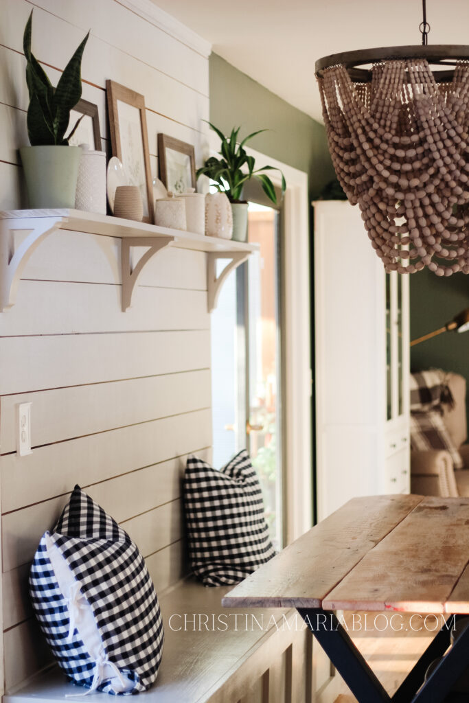 painted shelf dining area with painted corbels