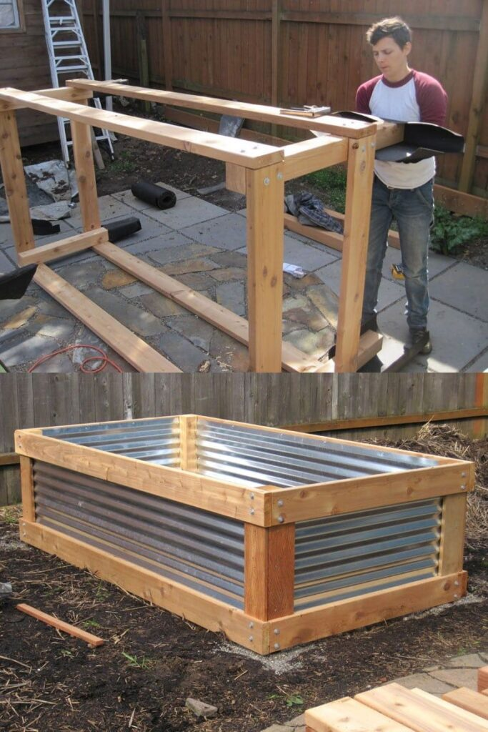 raised vegetable garden bed with corrugated steel roof panels
