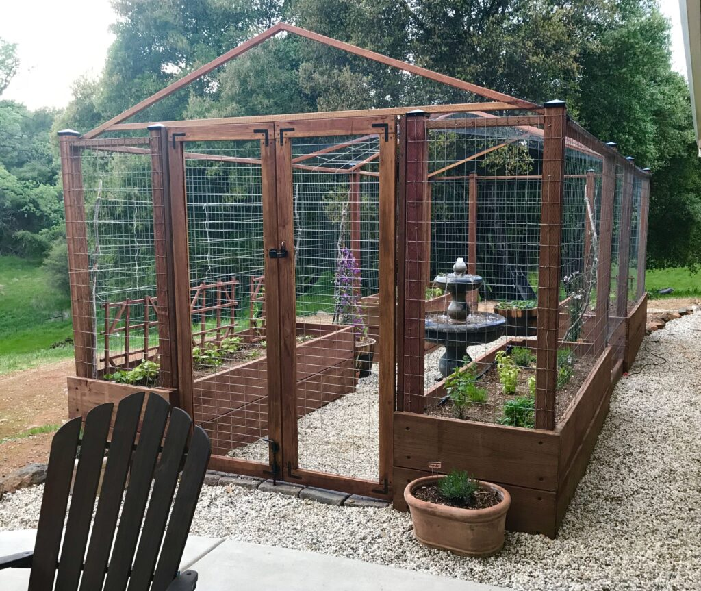 raised garden bed with sides and door