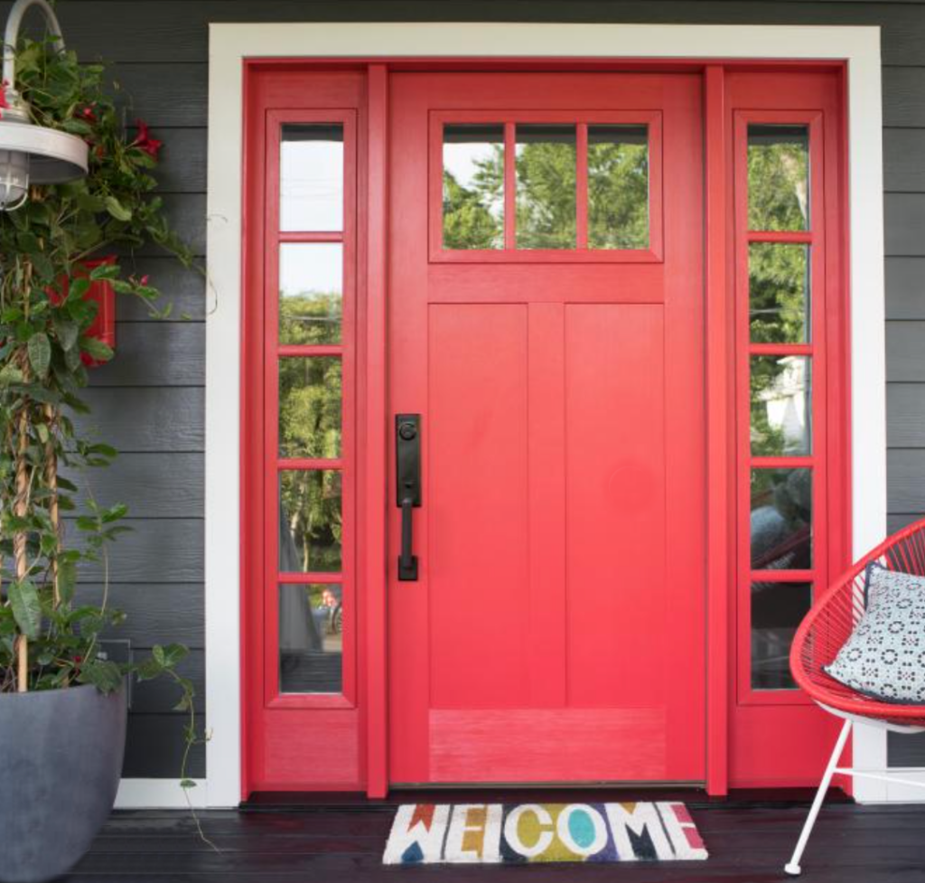 red door with charcoal siding