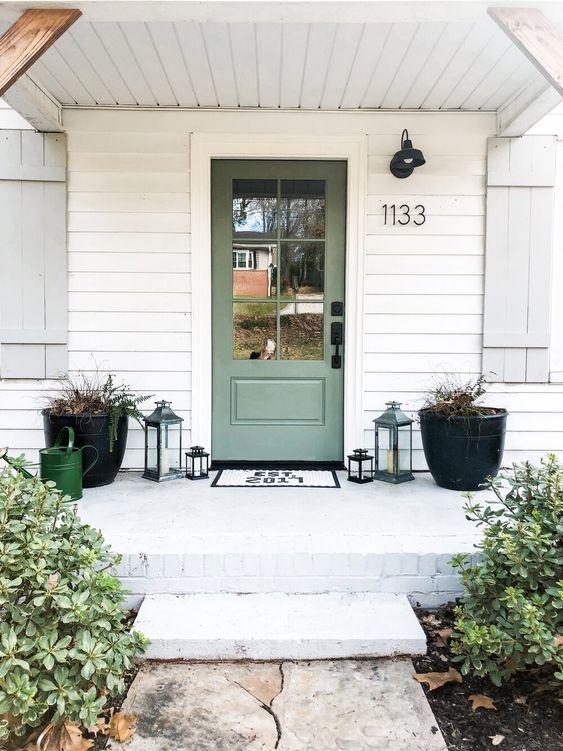 green front door modern farmhouse style