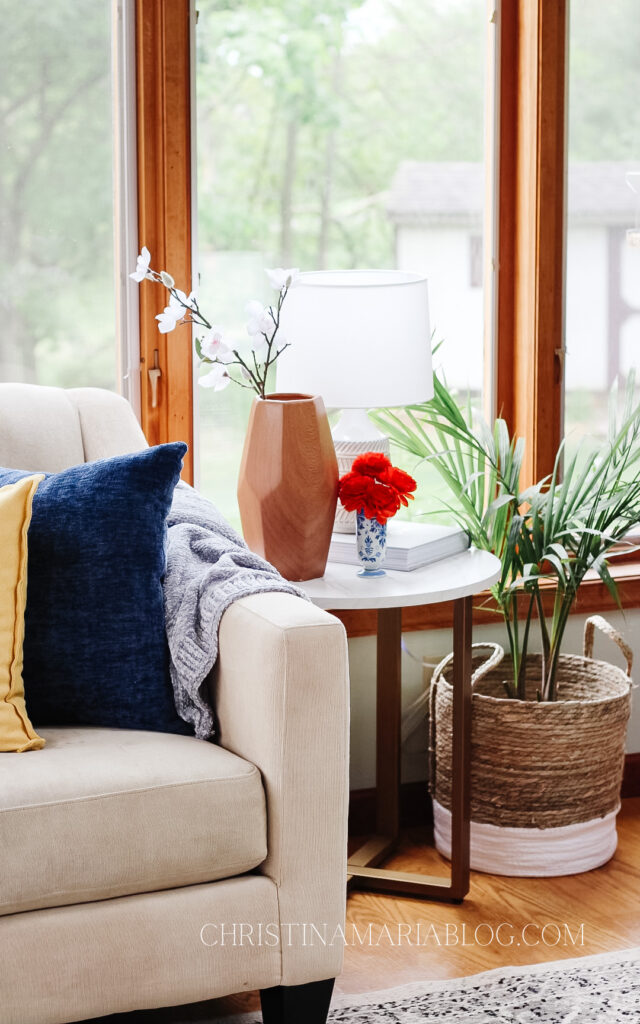 end table and plant in basket