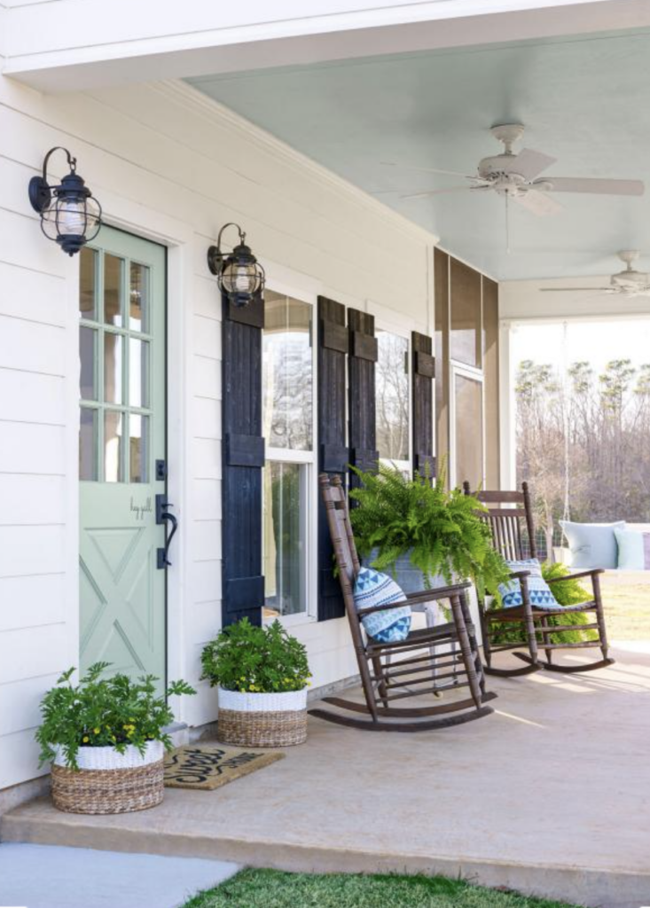 sherwin williams watery front door farmhouse porch