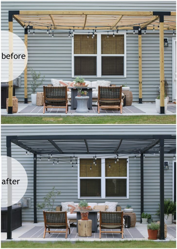 stained black pergola makeover Pretty Real Blog