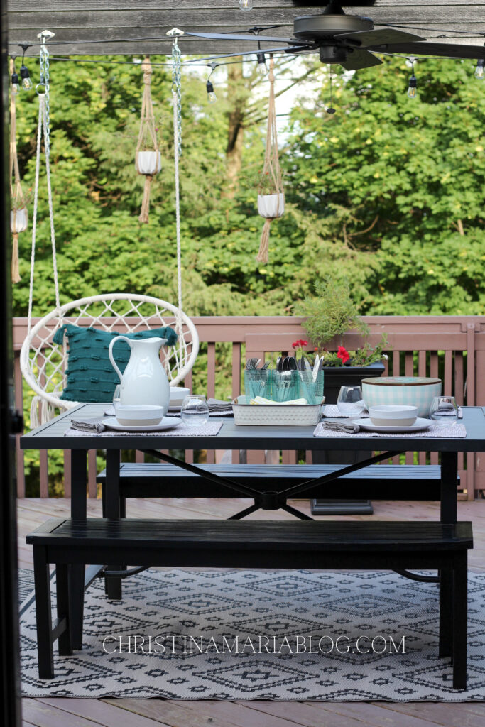 deck with macrame swing