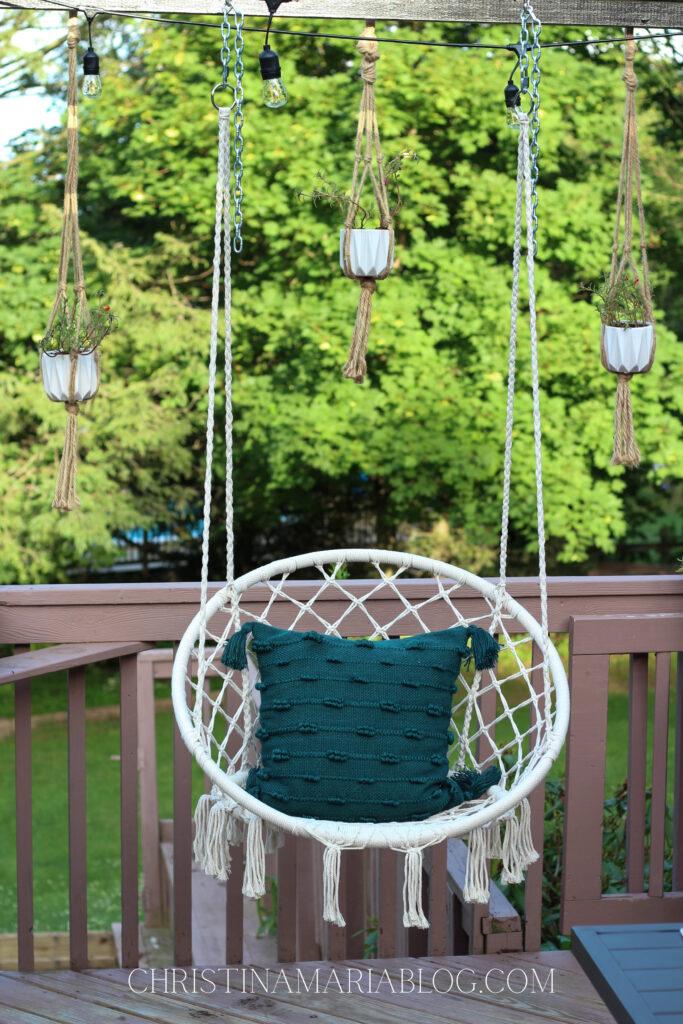 hanging swing on porch