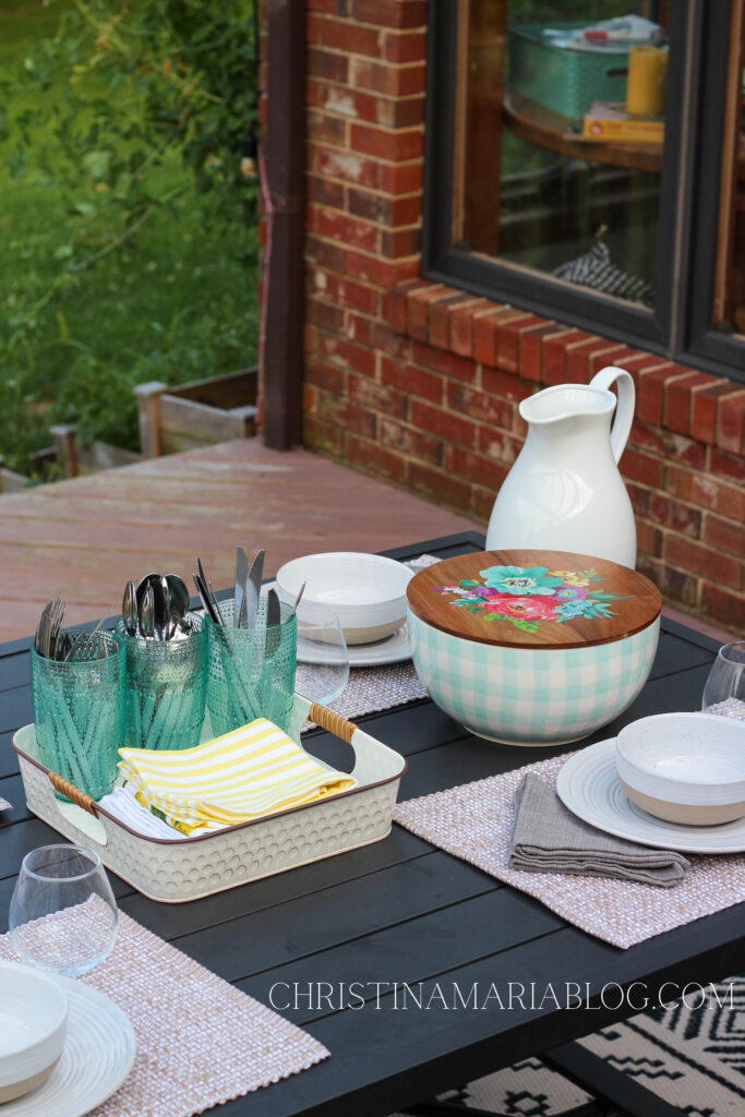 pioneer woman bowl back deck table