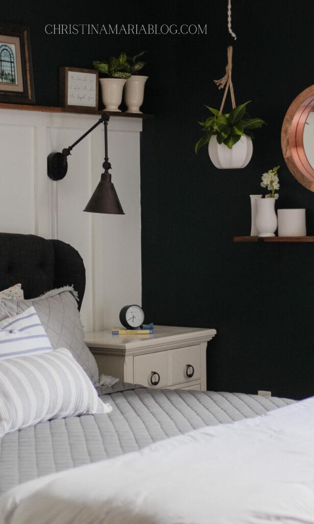 gray bedding salamander paint bedroom hanging plants
