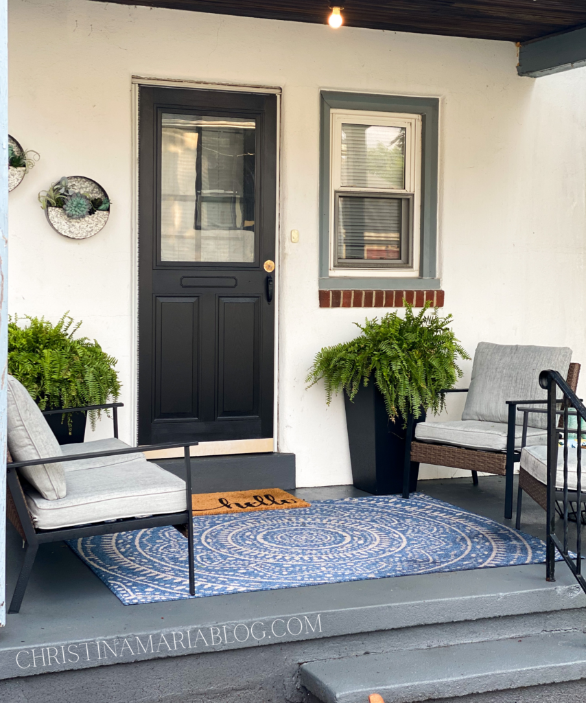 porch with gray porch paint