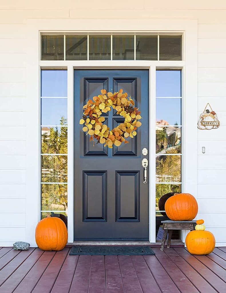 yellow fall wreath front door