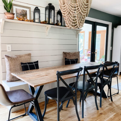 Banquette Fall Decorating – and free vintage prints